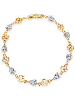 Water Drop Rhinestone Flower Bracelet - White