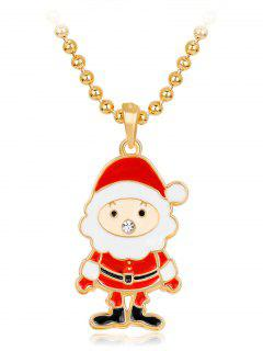 Christmas Santa Rhinestone Beaded Chain Necklace - Red
