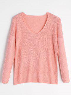 V Neck Loose Fit Pullover Knitwear - Light Pink M