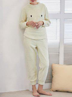 Flannel Smile Embroidered Loungewear Suit - Light Yellow M