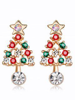 Acrylic Rhinestone Hollow Out Christmas Tree Earrings