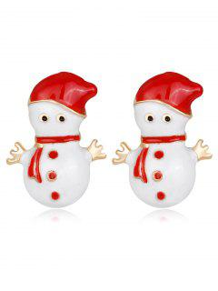 Snowmen Shape Earrings - Red