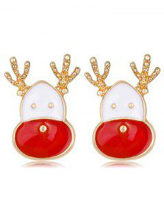 Cute Christmas Reindeer Head Earrings - Red