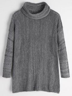 Turtleneck Drop Shoulder Tunic Sweater - Gray Xl