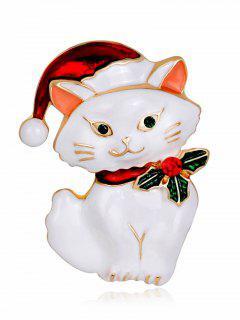 Christmas Hat Rhinestone Kitten Brooch - White