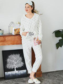 Embroidered Heart Flannel Loungewear Suit - White L