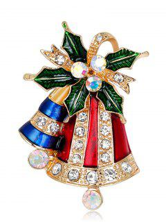 Rhinestoned Christmas Bell Tiny Brooch - Red