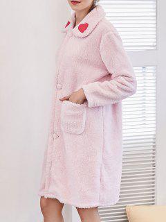 Robe De Nuit à Flanelle Bordée Coeur - Rose Léger  L
