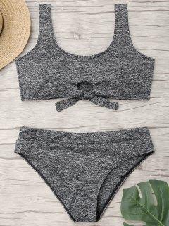 Tied Heathered Plus Size Bikini Deportivo - Gris 3xl