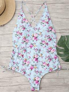 Floral Cross Back Plus Size Swimwear - Light Blue 3xl