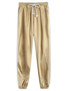 Drawstring Shiny Sporty Jogger Pants - Khaki M