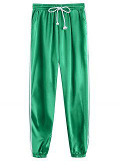Drawstring Shiny Sporty Jogger Pants - Green M