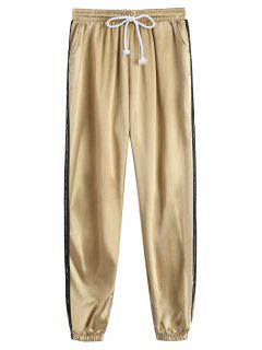 Sporty Drawstring Shiny Jogger Pants - Khaki L