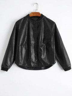 Snap Button Pockets Faux Leather Jacket - Black M