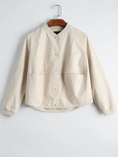 Snap Button Pockets Faux Leather Jacket - Apricot Xl