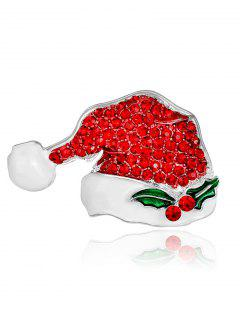 Rhinestone Christmas Tiny Hat Brooch - Red