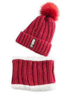 Label Knitted Pom Hat And Scarf - Wine Red