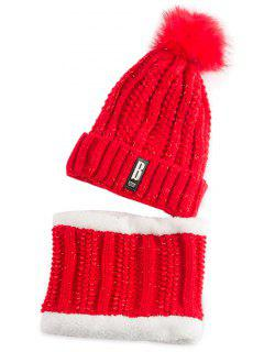 Label Knitted Pom Hat And Scarf - Bright Red