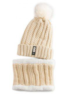 Label Knitted Pom Hat And Scarf - Palomino