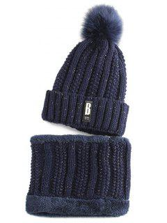 Label Knitted Pom Hat And Scarf - Purplish Blue