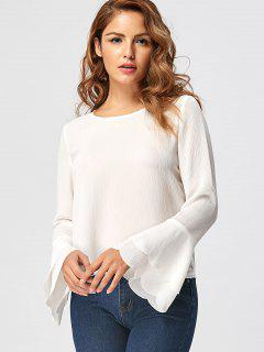 Tiered Flare Sleeve Blouse - White M