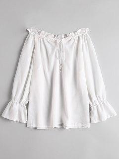 Aus Schulter Krawatte Front Rüschen Bluse - Weiß