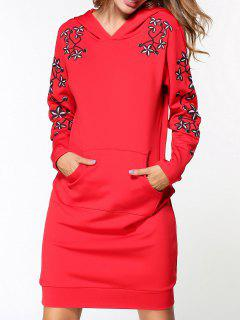 Embroidered Hoodie Dress - Red M
