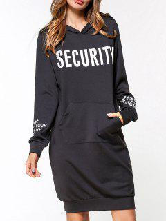 Front Pocket Graphic Hoodie Dress - Black M