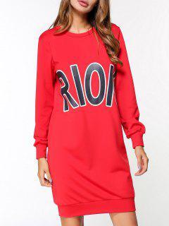 Robe à Manches Longues Graphique Rioio - Rouge M