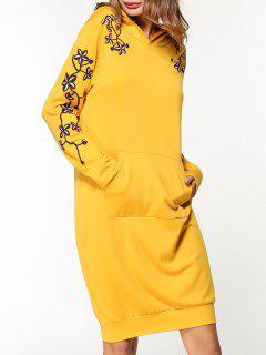 Blume Gesticktes Kapuze Kleid - Gelb Xl