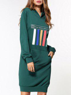 Front Pocket Hoodie Dress - Green L