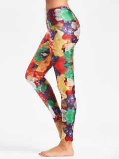 Multicolor Candy Pattern Leggings For Sports - Yellow M