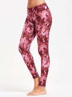 Tie Dye Slim Sports Leggings - Red 2xl