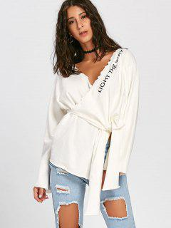 Letter Pattern Self Tie Top - White S