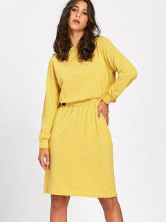 Long Sleeve Jersey Dress - Yellow Xl