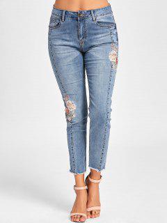 Embroidery Cigarette Jeans - Denim Blue 2xl