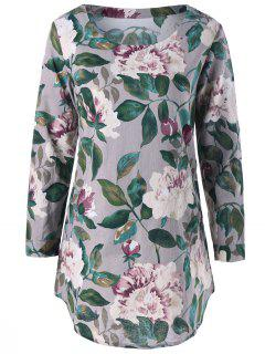 Slash Pockets Floral Tunic Top - Gray L