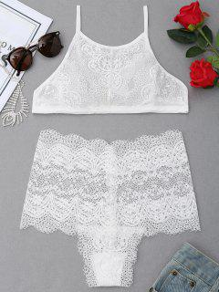 High Neck Lace Bra Set - White L