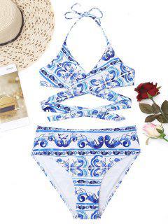 Printed High Cut Plus Size Wrap Bikini - Blue And White Xl