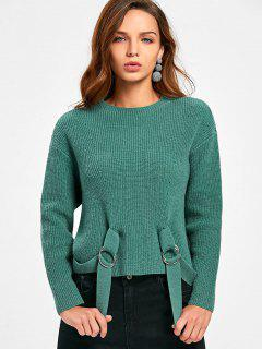 Drop Shoulder Side Slit Long Sleeve Sweater - Green 2xl