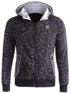 Space-dye Zip Up Fleece Hoodie - Black 3xl