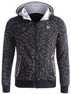 Space-dye Zip Up Fleece Hoodie - Black L