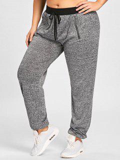 Plus Size Zipper Embellished Drawstring Waist Jogger Pants - Gray Xl