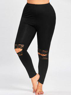 Plus Size Knee Slit Leggings - Black 4xl