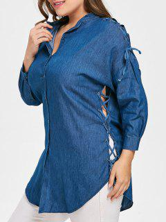 Lace Up Drop Shoulder Plus Size Blouse - Denim Blue 3xl