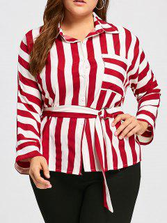 Plus Size Stripe Front Pocket Shirt With Belt - Red 4xl