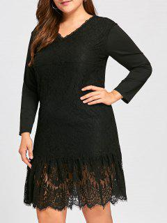 Plus Size V  Back Long Sleeve Lace Dress - Black 5xl