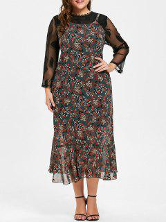 Plus Size Lace Panel Floral Print Slit Dress - 5xl