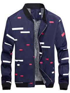 Zip Up Geometric Print Flocking Jacket - Deep Blue M