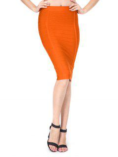 High Waist Bandage Skirt - Orange S